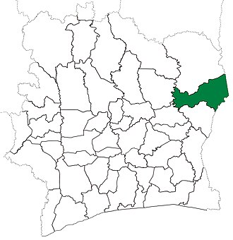 Bondoukou Department - Image: Bondoukou Department locator map Côte d'Ivoire (1988 95)
