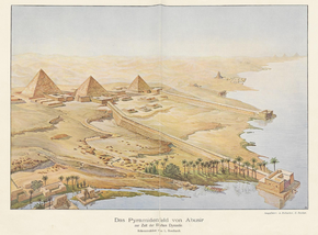 Painting of pyramids and temples in Abusir