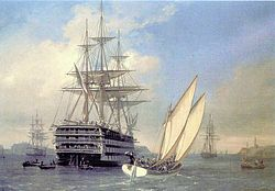 Painting of the ship leaving port, with boats of passengers around it