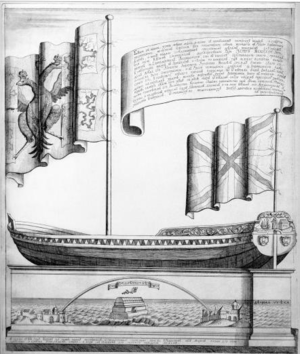 Botik of Peter the Great - An engraving of a drawing of the boat