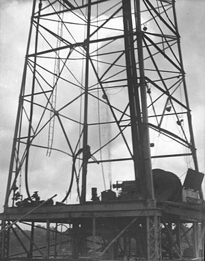 Oil well - Bottom Part of an Oil Drilling Derrick in Brazoria County, Texas (Harry Walker Photograph, circa 1940)