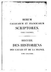 Scriptor:Martinus Bouquet: Recueil des Historiens des Gaules et de la France, tome 20