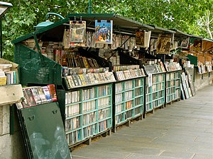"a ""bouquiniste"" by the Seine, in Par..."