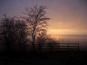 Bramcote - Sunset over Bramcote from just below Devils Bend