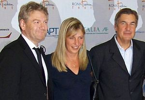 Left Bank Pictures - Left Bank founders Marigo Kehoe (centre) and Andy Harries (right) with Wallander star Kenneth Branagh (left) in July 2009