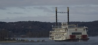 Showboat Branson Belle - The Showboat Branson Belle, aground at Poverty Point, Table Rock Lake, December 12, 2010