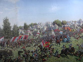 Battle of Morat - Portion of the painting Schlacht bei Murten by Louis Braun, 1893