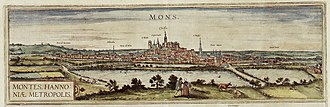 Siege of Mons (1572) - Mons in 1572 by Frans Hogenberg.