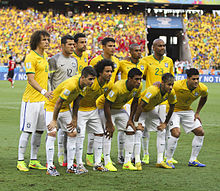 d01ac5ae8ea Brazil line up against Colombia at the 2014 FIFA World Cup. Neymar (front  row