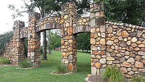 National Register of Historic Places listings in Transylvania County, North Carolina - Image: Brevard College Stone Fence and Gate 2012 09 08 18 58 51