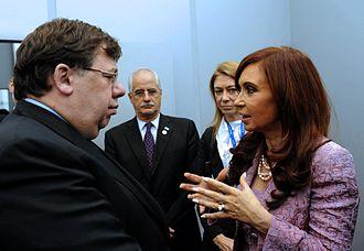 Brian Cowen - Cowen meeting with Argentine President Cristina Fernandez in 2010.