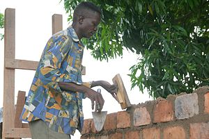 Economy of the Central African Republic - A bricklayer in Paoua, Central African Republic.