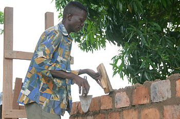 Bricklayer in Paoua, Central African Republic