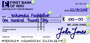 Parts of a cheque based on a UK example drawee...