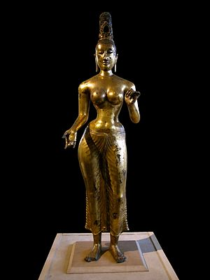 Anuradhapura Kingdom - Gilded bronze statue of the Bodhisattva Tara, dated to the 8th century, found in the eastern coast of Sri Lanka