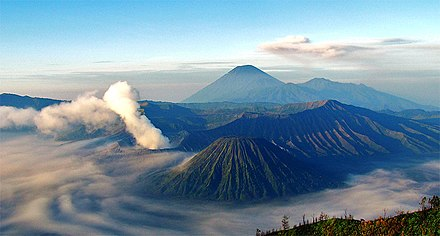 Mount Semeru and Mount Bromo in East Java. Indonesia's seismic and volcanic activity is among the world's highest. Bromo-Semeru-Batok-Widodaren.jpg