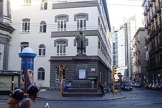 Ruggero Bonghi - Bronze statue of Bonghi (1900), at Corso Umberto I and Via Porto di Massa, in front of San Pietro Martire, Naples