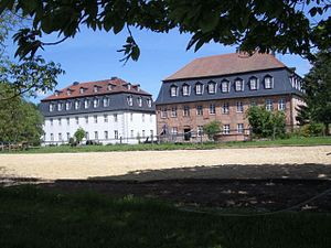 Herrnhaag - The Sisters' House to the left and the Lichtenburg on the right.