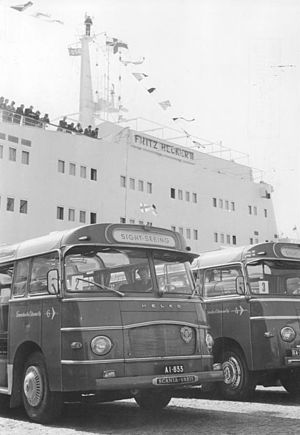 "Free German Trade Union Federation - FDGB's cruise ship MS ""Fritz Heckert"" in Helsinki (May 1961)."