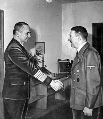 Adolf Hitler meets with Donitz in the Fuhrerbunker (1945) Bundesarchiv Bild 183-V00538-3, Karl Donitz, Adolf Hitler.jpg