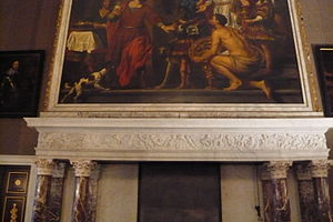 Portrait of the Family Hinlopen - Picture of the hearth of one side of the Mayor's room in the Amsterdam City Hall, showing a painting by Govert Flinck above the mantel