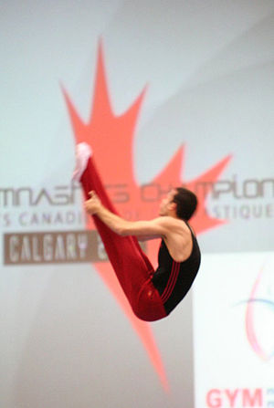Trampolining - Jason Burnett in pike position at the 2008 Canadian National Championships