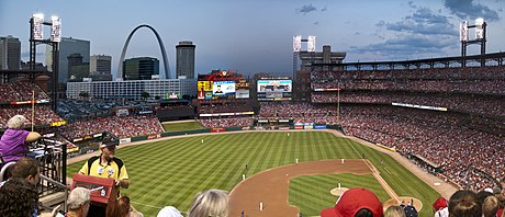 Busch Stadium in downtown St. Louis Busch Stadium Panorama (6040385355).jpg