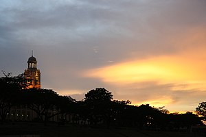 The Chinese High School Clock Tower Building - Image: CHS clock tower block sunset
