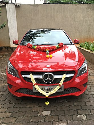 Ayudha Puja - An imported car decorated for the Puja