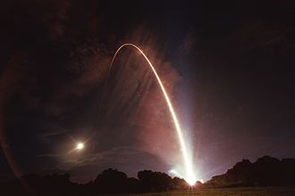CONTOUR - Long-exposure photograph of the launch of CONTOUR from Cape Canaveral on July 3, 2002.