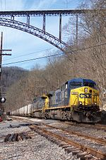 A CSX coal train crosses under the New River Gorge Bridge in February 2008