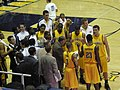 Cal men's team in huddle at 2008 Golden Bear Classic championship game.JPG