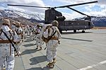 California National Guard Chinooks airlift Marines training in mountain warfare tactics to high elevation landing zones 140328-A-YY327-189.jpg