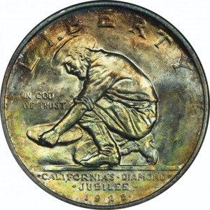 California Diamond Jubilee half dollar - Image: California half dollar obverse (transparent)