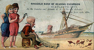 West Jersey and Seashore Railroad - Card promoting an 1880 excursion on the railroad.