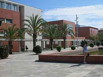 University of Aveiro - The University of Aveiro central campus area with colonnades and department buildings.