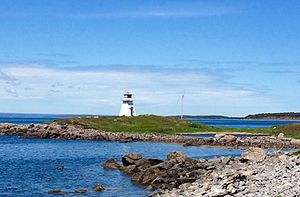 Arichat, Nova Scotia - Lighthouse of Marche Point, standing at the edge of Cap Auguet
