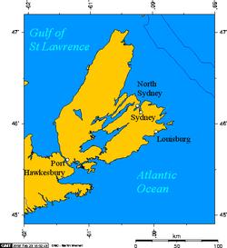 Louisbourg, on Cape Breton Island.