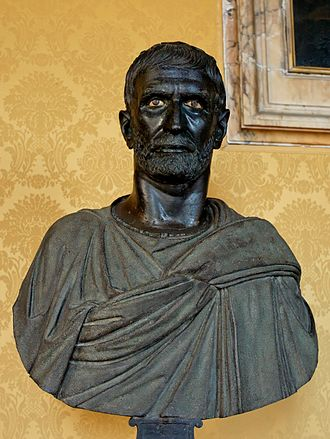 Ancient Rome - This bust from the Capitoline Museums is traditionally identified as a portrait of Lucius Junius Brutus, Roman bronze sculpture, 4th to late 3rd centuries BC