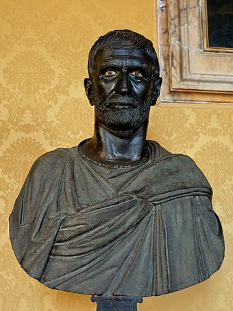 This bust from the Capitoline Museums is traditionally identified as a portrait of Lucius Junius Brutus, Roman bronze sculpture, 4th to late 3rd centuries BC Capitoline Brutus Musei Capitolini MC1183.jpg