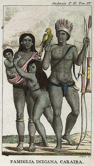 Island Caribs - Carib family (by John Gabriel Stedman 1818)