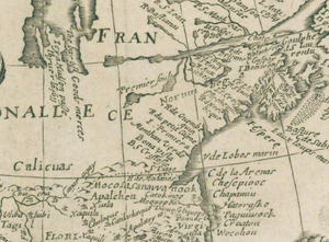 Protohistory of West Virginia - Section of a 1671 French map