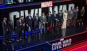 Captain America: Civil War - (L-R) Nate Moore, Kevin Feige, the Russo brothers, Paul Bettany, Daniel Brühl, Robert Downey, Jr., Chris Evans, Tom Holland, Paul Rudd, Elizabeth Olsen, Jeremy Renner, Anthony Mackie, Sebastian Stan, and Emily VanCamp at the London premiere