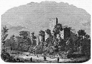 Guimarães Castle - An 1863 engraving of the battlements and keep at Guimarães