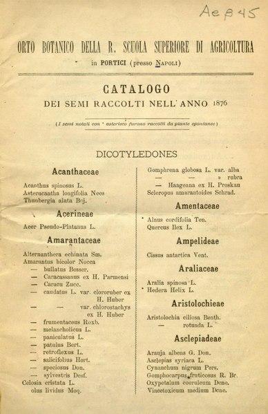 File:Catalogo dei semi raccolti nell'anno 1876 Orto botanico Portici.djvu