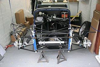 Anti-roll bar - Photo of 2 front-wheel springs, with the tires removed. Each suspension spring is connected to the central sway bar assembly.