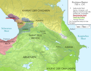 Emirate of Tbilisi - Georgia and the Caucasus around 750, just after the emirate was established.