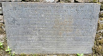 Cecil Spring Rice - The memorial plaque to Sir Cecil Spring Rice on the lower bridge at Aira Force, Cumbria.