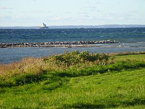 Øresund - Denmark (Zealand) seen from the Scanian side of Øresund.