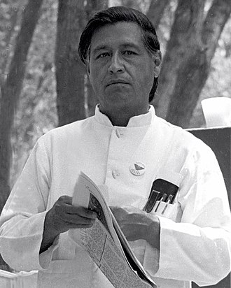 History of Mexican Americans - César Chávez at a United Farmworkers rally, 1974